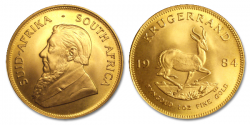 Moneda de oro Krugerrand Sudáfrica una onza