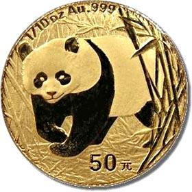 Moneda de oro panda chino 50 yuan
