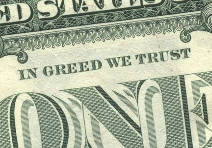 "Primer plano de billete de un dolar con la leyenda ""in greed we trust"""