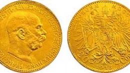 Moneda de oro corono kronen austria