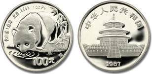 Moneda panda platino china