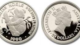 Moneda platino Koala Australia