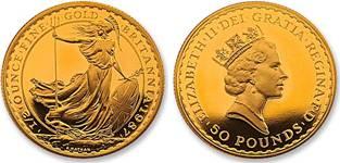 Monedas de oro britannia reino unido