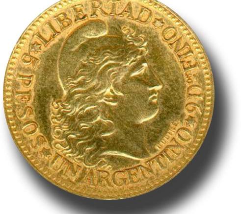 Moneda de oro argentino-rev