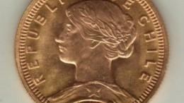 Moneda de oro chile cien pesos diez condores