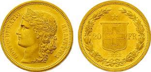Moneda de oro helvetia suiza