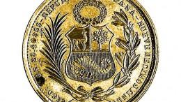 Moneda de oro sol de escudo peru
