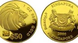 Moneda león de oro de Singapur