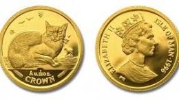 moneda oro gato isla de man
