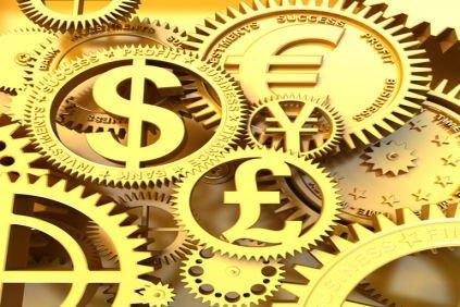 Simbolos de distintas monedas como engranajes de reloj