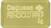 Lingote de oro Degussa 5 gramos 999.9 Feingold