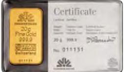 Lingote de oro 20 gramos Commerzbank
