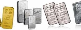 Varios lingotes de plata de Credit Suisse