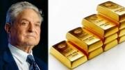 George Soros y escalera de lingotes de oro
