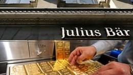 Fachada de Julius Baer y manos colocando lingotes