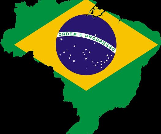 Bandera del Brasil en forma de mapa