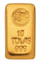 Lingote de oro 10 tolas