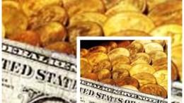 Billete dólar y monedas oro