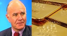 Marc Faber con lingotes de oro