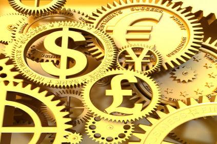 Símbolos de divisas en oro