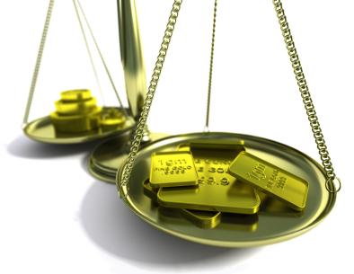 Balanza con oro
