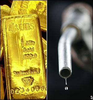 Lingote oro y manguera gasolina