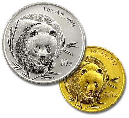 monedas panda oro y plata