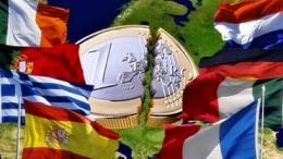 Banderas europa con moneda euro en medio rota