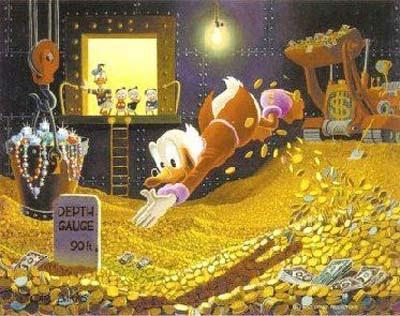 Tio Gilito nadando en monedas de oro