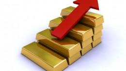 Lingotes de oro con forma de gráfica creciente precio oro
