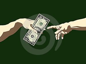 Billete dinero un dólar pasa a otra mano