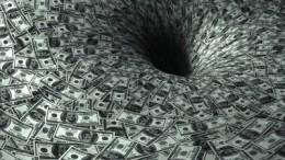 Agujero negro de billetes de dólares dinero