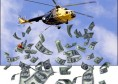 Ben Bernanke tirando dinero desde un helicóptero