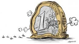 Ilustración de moneda euro pinchada