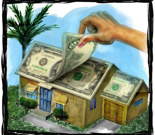 Ilustración cas con tejado de dólares