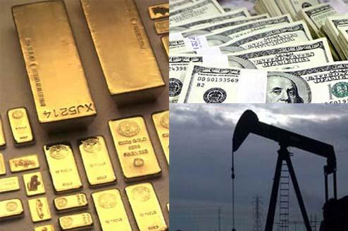 Lingotes de oro, dólares y petroleo
