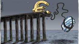 Ilustración del Euro a punto de hundirse en el fondo del mar