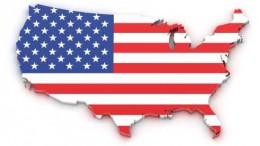 Bandera Estados Unidos en mapa geográfico