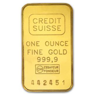 Lingote una onza oro Credit Suisse 9999