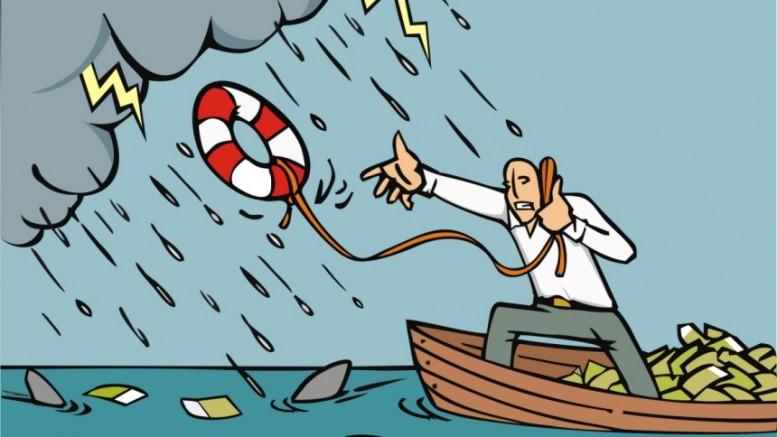 Hombre en barca con dinero y tiburones en el mar