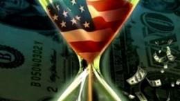 Estados Unidos deshaciéndose en reloj de arena con su bandera