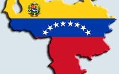 Mapa politico de Venezuela con bandera