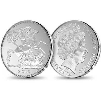 Moneda plata George 20 libras Royal Mint