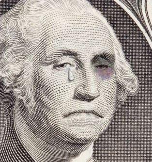 Primer plano de Washington sobre un dolar llorando