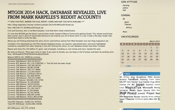 Blog hackeado de Mark Karpeles Mt.Gox