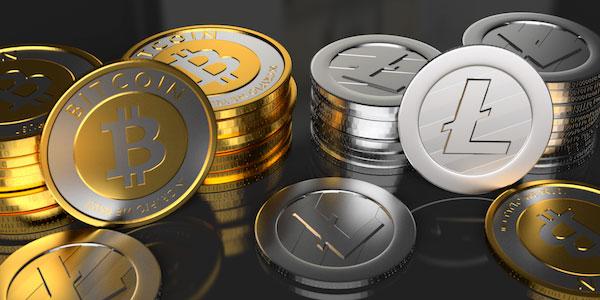 Monedas de Bitcoin y Litecoin