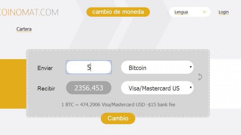 Coinomat.com Interfaz web