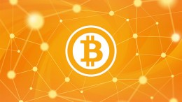 Bitcoin Logo en una red