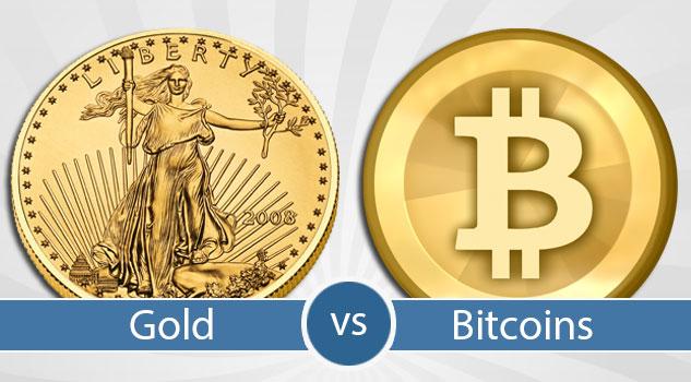 Bitcoin y moneda de oro