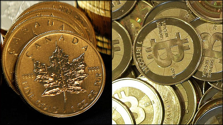 Monedas oro maple leaf y bitcoin